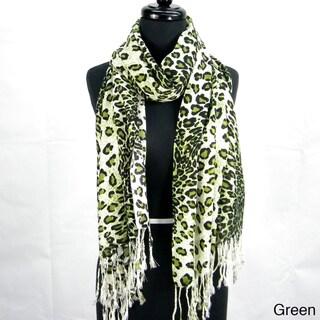 Fashion Cheetah Print Fringed Scarf