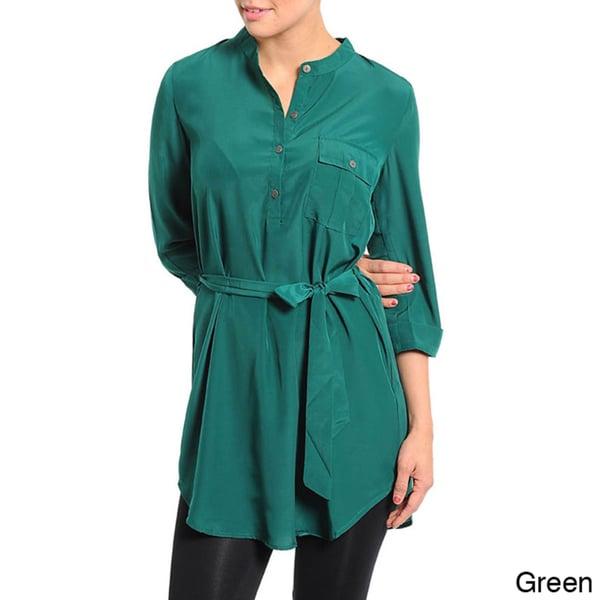 Stanzino Women's Waist-tie Shirt Style Tunic