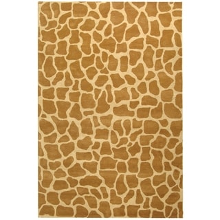 Handmade Giraffe Beige New Zealand Wool Rug (3'6 x 5'6')
