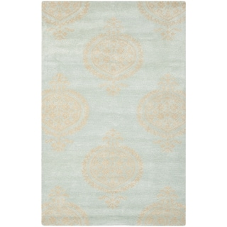 Handmade Soho Blue/ Beige New Zealand Wool Rug