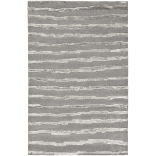 Handmade Soho Stripes Grey New Zealand Wool Rug (9' x 12')