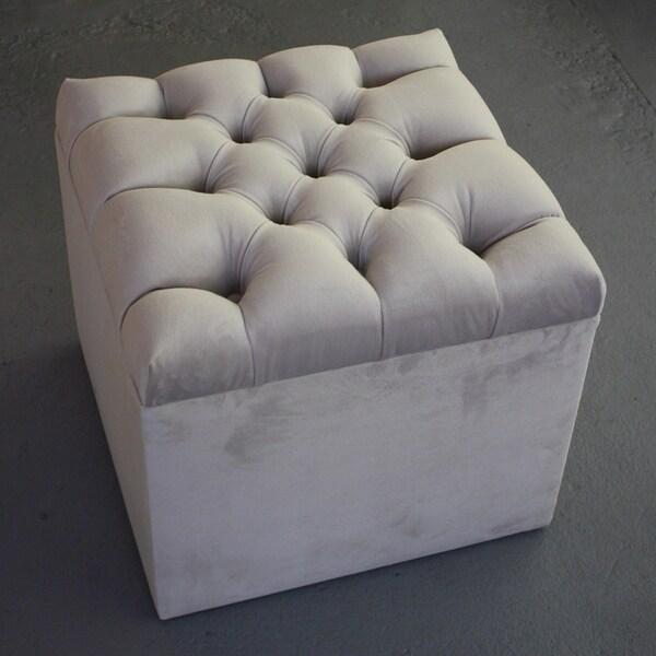 Decenni Custom Furniture Dove Grey Velvet Tufted Storage Ottoman