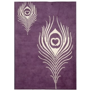 Handmade Peacock Feather Purple New Zealand Wool Rug