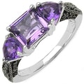 Malaika Sterling Silver Amethyst and Black Diamond Ring (I2-I3)