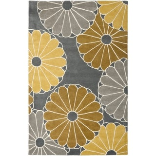 Handmade Daisies Grey New Zealand Wool Rug