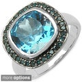 Malaika Sterling Silver Cushion-cut Gemstone and Diamond Ring (I2-I3)