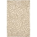 Handmade Soho Roses Beige New Zealand Wool Rug (6' x 9')