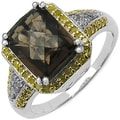 Malaika Sterling Silver Smoky Topaz and Diamond Ring (I2-I3)