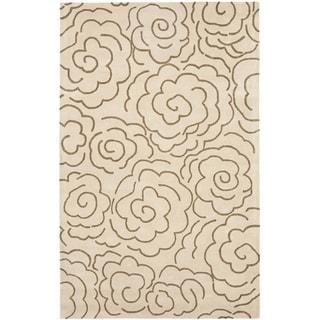 Handmade Soho Roses Beige New Zealand Wool Rug (9' x 12')