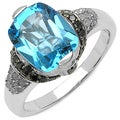 Malaika Sterling Silver Blue Topaz/ Black Diamond Ring (I2-I3)