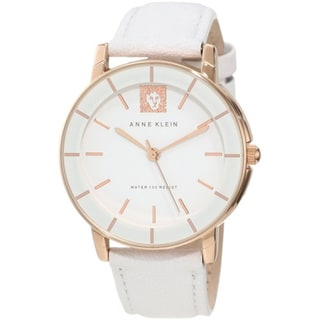 Anne Klein Women's AK-1058RGWT White Leather Quartz Watch