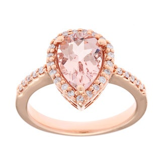 14k Rose Gold 1/5ct TDW White Diamond Morganite Ring (G-H, SI1)