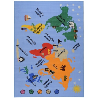 Printed Kids Our World Blue Area Rug (4&#39;5 x 6&#39;1)