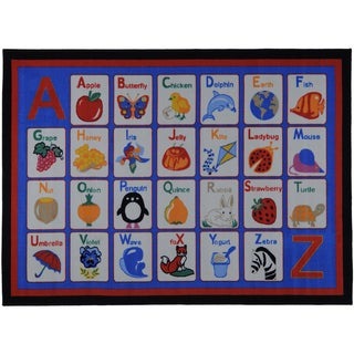 Printed Kids Learning Alphabet Blue Area Rug (3'3 x 4'7)