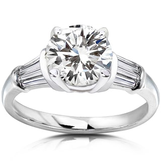 Annello 14k White Gold Round-cut Moissanite and 1/2ct TDW Baguette-cut Diamond Engagement Ring (H-I, I1-I2)