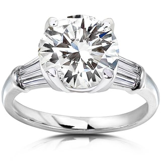 Annello 14k Gold Round-cut Moissanite and 3/5ct TDW Diamond Engagement Ring (H-I, I1-I2)