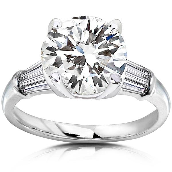 Annello 14k Gold Round-cut Moissanite and 3/5ct TDW Diamond Engagement Ring (H-I, I1-I2)