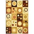 Hand Carved Moderno Contemporary Geometric Brown Area Rug (5'3 x 7'3)