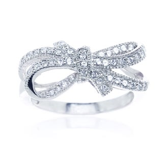 Sterling Silver Cubic Zirconia Double Bow Knot Ribbon Ring