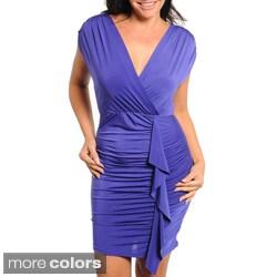 Stanzino Women's Plus Size Ruffle-accent Shirred Dress