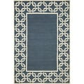 Link Border Denim/ White Outdoor Rug (3'6 x 5'6)