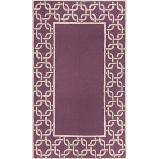 Link Border Purple/ Ivory Outdoor Rug (3'6 x 5'6)