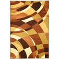 Hand Carved Moderno Contemporary Abstract Brown Area Rug (5'3 x 7'3)