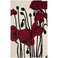 Handmade Orchids Ivory/ Red New Zealand Wool Rug