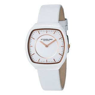 Stuhrling Original Women's Masquerade Quartz Ceramic White Leather Strap Watch