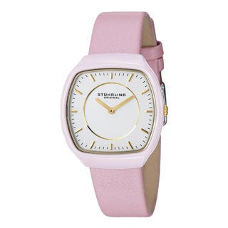 Stuhrling Original Women's Masquerade Quartz Ceramic Pink Leather Strap Watch
