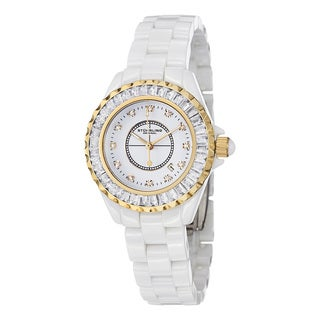 Stuhrling Original Women's Glamour II Quartz Crystal Ceramic Water-Resistant Bracelet Watch