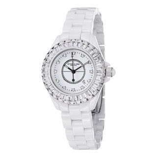 Stuhrling Original Women's Glamour II Quartz Crystal Ceramic Bracelet Watch