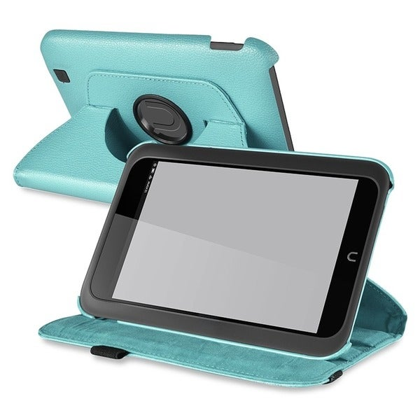 INSTEN Light Blue Leather Swivel Phone Case Cover for Barnes & Noble Nook HD