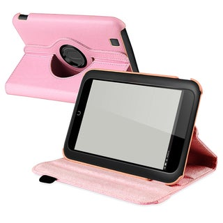 BasAcc Light Pink Leather Swivel Case for Barnes & Noble Nook HD