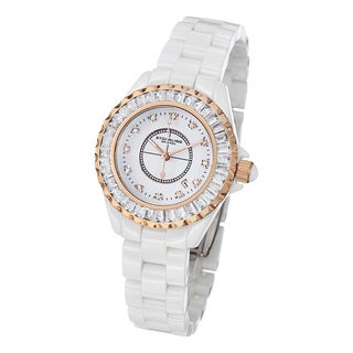 Stuhrling Original Women's Glamour II Quartz Crystal White-Ceramic-Link Bracelet Watch