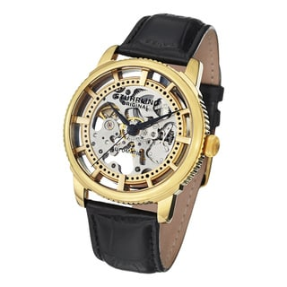 Contemporary Stuhrling Original Men's Winchester Skeleton Automatic Leather Strap Watch