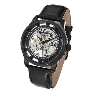 Contemporary Stuhrling Original Men's Winchester Skeleton Automatic Black Leather Strap Watch