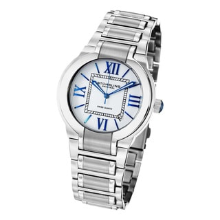 Stuhrling Original Men's Tribune Quartz Stainless-Steel Bracelet Watch with Blue Hands
