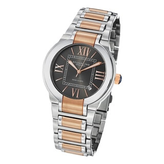 Stuhrling Original Men's Tribune Quartz Stainless-Steel Bracelet Watch with Rosetone Accents