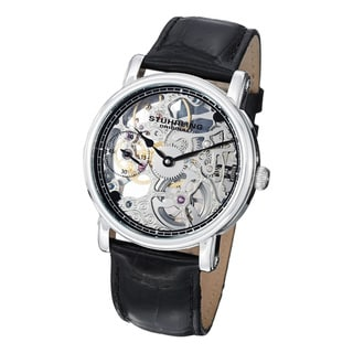 Stuhrling Original Men's Avon Mechanical Skeleton Leather Strap Watch