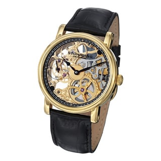 Stuhrling Original Men's Avon Mechanical Skeleton Black Leather Strap Watch