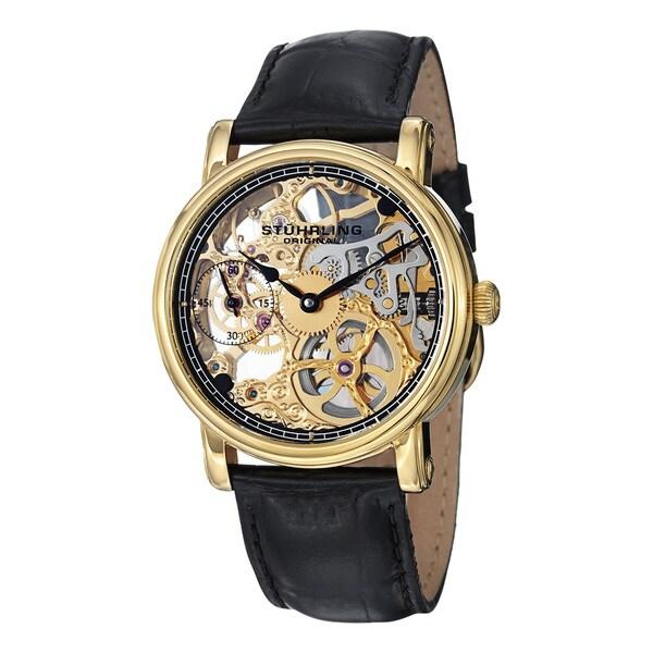 Stuhrling Original Men's Avon Mechanical Skeleton Black Leather Strap Watch
