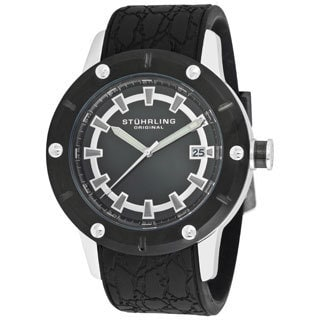 Stuhrling Original Men's Torino Quartz Black-Rubber-Strap Watch