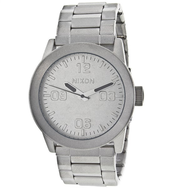 Nixon Men's Private Silver-Dial Stainless-Steel Watch