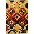 Hand Carved Moderno Contemporary Abstract Gold Area Rug (5'3 x 7'3)