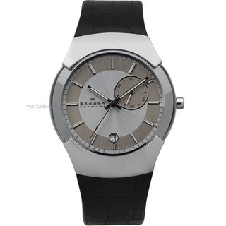 Skagen Men's Black Leather Strap Silvertone Watch
