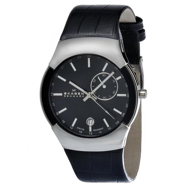Skagen Men's 983XLSLB Black Leather Swiss Quartz Watch
