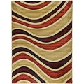 Hand Carved Moderno Contemporary Waves Multi-Color Area Rug (5'3 x 7'3)
