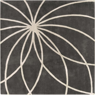 Hand-tufted Charcoal Rotura Floral Wool Rug (9'9 Square)