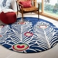 Handmade Peacock Feathers Blue New Zealand Wool Rug